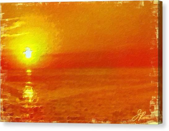 Horizontal Image Canvas Print - Jersey Orange Sunrise by Joan Reese