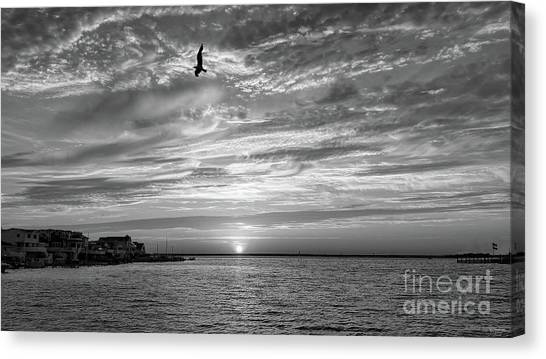 Long beach island new jersey canvas print jersey shore sunset in black and white by