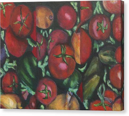 Jersey Tomatoes With A Dash Of Abstract Canvas Print