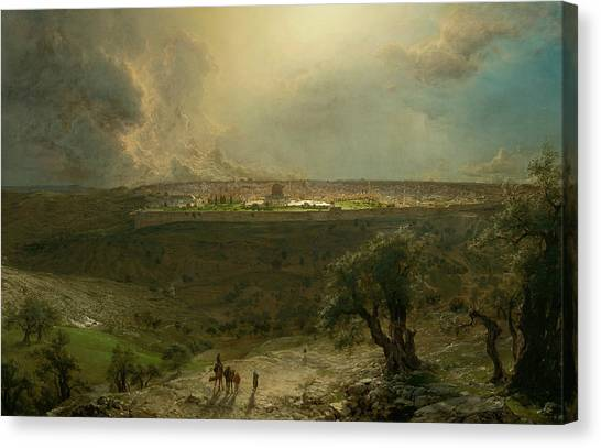 Jerusalem Canvas Print - Jerusalem From The Mount Of Olives by Frederic Edwin Church