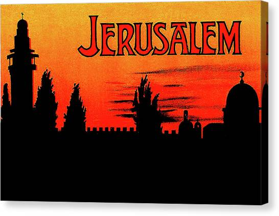 City Sunsets Canvas Print - Jerusalem, Sunset Silhouette by Long Shot