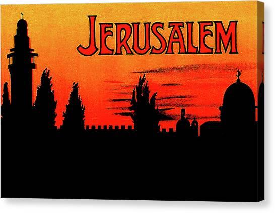 City Sunset Canvas Print - Jerusalem, Sunset Silhouette by Long Shot