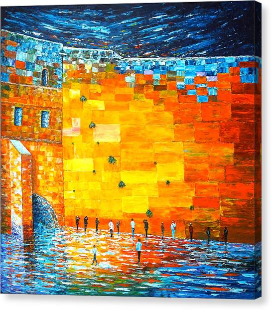 Judaism Canvas Print - Jerusalem Wailing Wall Original Acrylic Palette Knife Painting by Georgeta Blanaru
