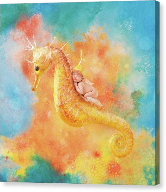 Seahorses Canvas Print - Jessabella Riding A Seahorse by Anne Geddes