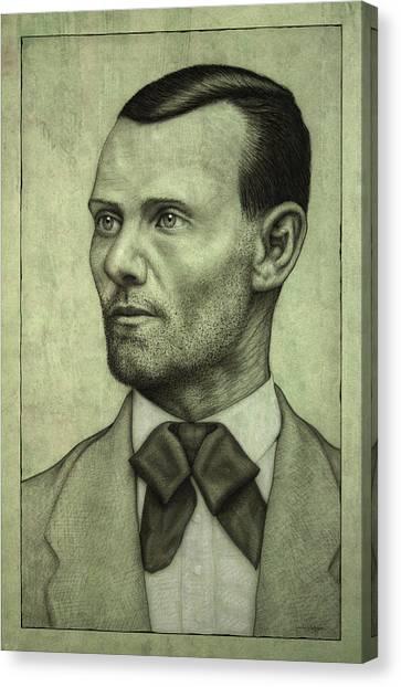 Cowboy Canvas Print - Jesse James by James W Johnson