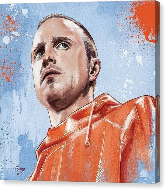 White Canvas Print - Jesse Pinkman by Tony Santiago