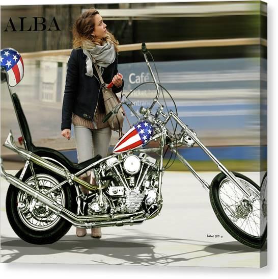 Jessica Alba Canvas Print - Jessica Alba, Captain America, Easy Rider by Thomas Pollart