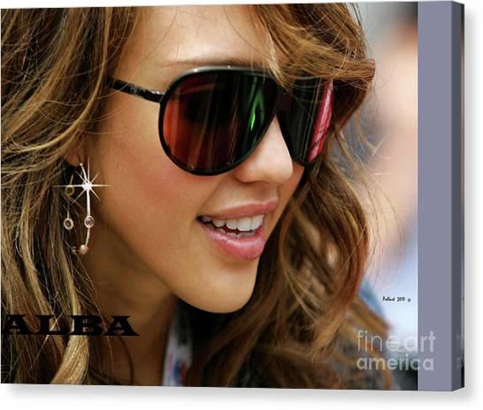 Jessica Alba Canvas Print - Jessica Alba, Cool Shades by Thomas Pollart