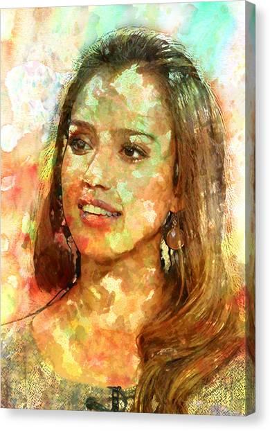 Jessica Alba Canvas Print - Jessica Alba by Elena Kosvincheva