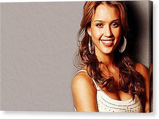 Jessica Alba Canvas Print - Jessica Alba by Queso Espinosa