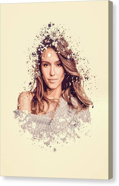 Jessica Alba Canvas Print - Jessica Alba Splatter Painting by MP Art