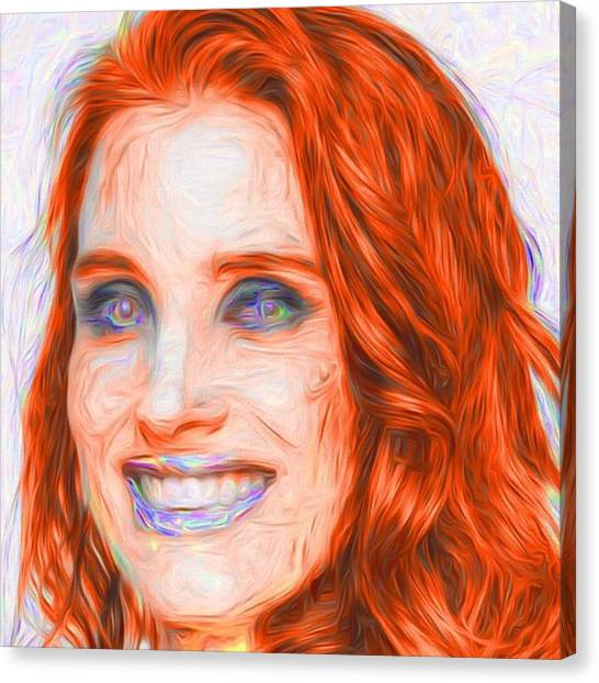 Kiss Canvas Print - @jessicachastaindaily #jessicachastain by David Haskett II