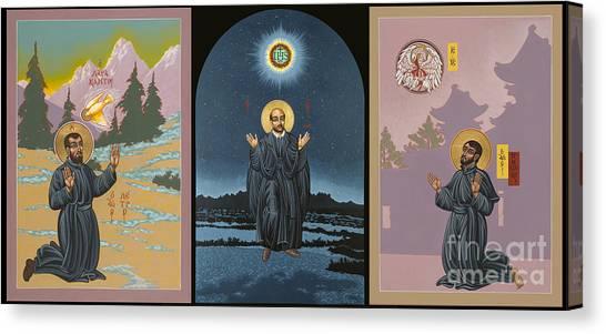 Jesuit Triptych-st Peter Faber-st Ignatius-st Francis Xavier Canvas Print