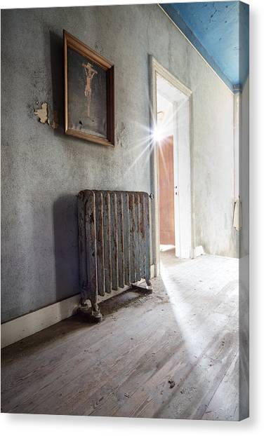 Atheism Canvas Print - Jesus Above The Heater - Abandoned Building by Dirk Ercken