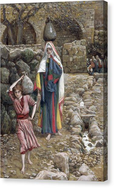 Holy Land Canvas Print - Jesus And His Mother At The Fountain by Tissot