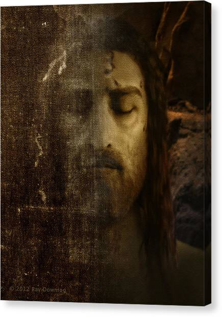 Shrouds Canvas Print - Jesus And Shroud by Ray Downing