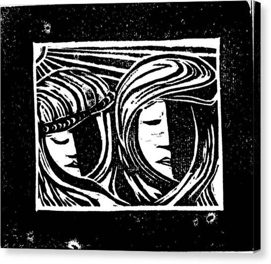 Jesus Comforts The Women Canvas Print by Lars Lindgren