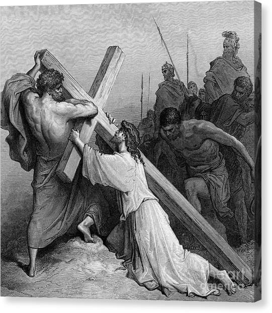 Weights Canvas Print - Jesus Falling Beneath The Cross By Gustave Dore  Engraved by Gustave Dore