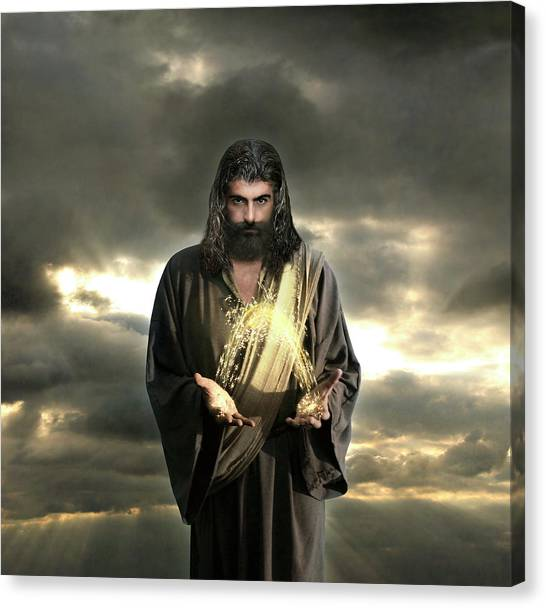Jesus In The Clouds With Radiant Power Canvas Print