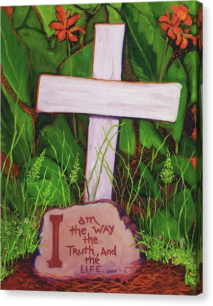 Canvas Print featuring the painting Garden Wisdom, The Way by Jeanette Jarmon