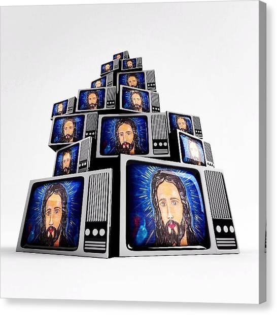 Jesus On Tv Canvas Print