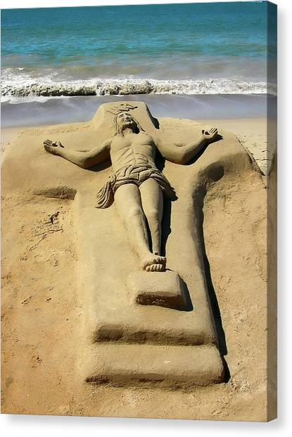 Jesus Sand Sculpture Canvas Print
