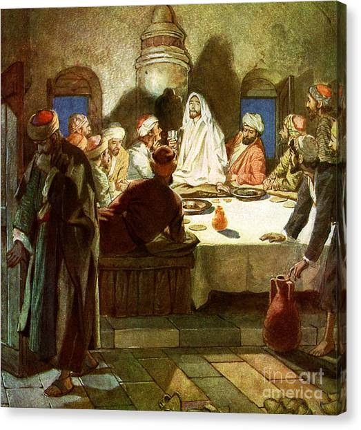 Passover Canvas Print - Jesus Tells His Disciples That He Will Be Betrayed by William Brassey Hole