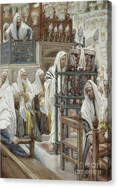 Torah Canvas Print - Jesus Unrolls The Book In The Synagogue by Tissot