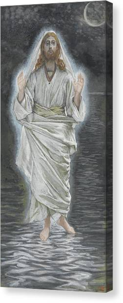 Messiah Canvas Print - Jesus Walks On The Sea by Tissot