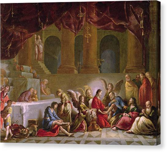 Messiah Canvas Print - Jesus Washing The Disciples Feet  by Claude Vignon