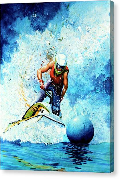 Jet Skis Canvas Print - Jet Blue by Hanne Lore Koehler