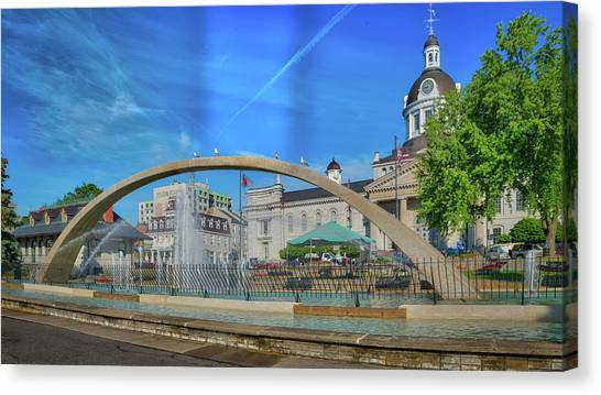 Jet Over City Hall Canvas Print