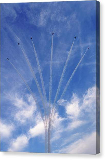 Canvas Print featuring the photograph Jet Planes Formation In Sky by Pradeep Raja Prints