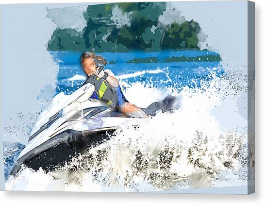 Jet Skis Canvas Print - Jet Skiing In The Lake by Elaine Plesser