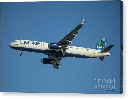 Jetblue Canvas Print - jetBlue Airways Airbus A320 Los Angeles Airport Art by Reid Callaway