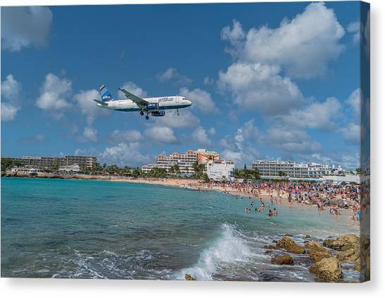 Jetblue Canvas Print - jetBlue at St. Maarten by David Gleeson