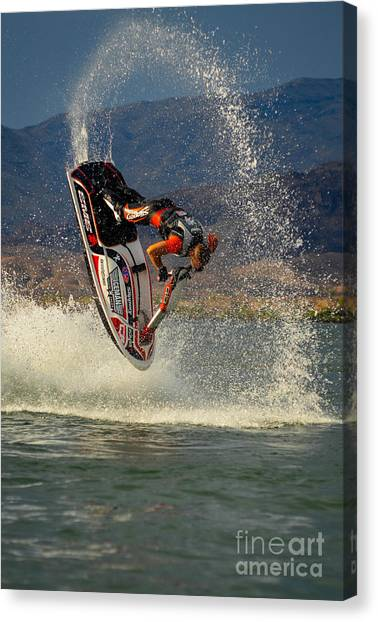 Jet Skis Canvas Print - Jetski Flip by Joy McAdams