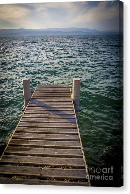 Pontoon Canvas Print - Jetty On Lake Leman by Bernard Jaubert