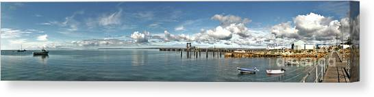 Canvas Print featuring the photograph Jetty To Shore by Stephen Mitchell