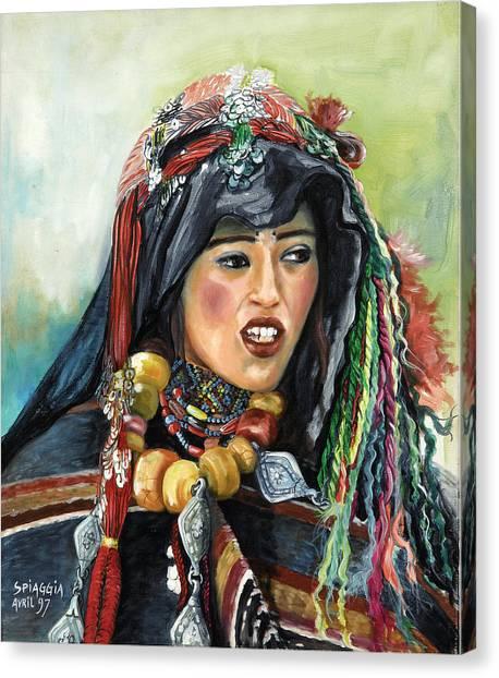 Jeune Femme Berbere De Atlas Marocain Canvas Print by Josette SPIAGGIA