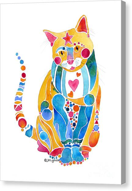 Jewel Colors Cat With Hearts N Stars Canvas Print