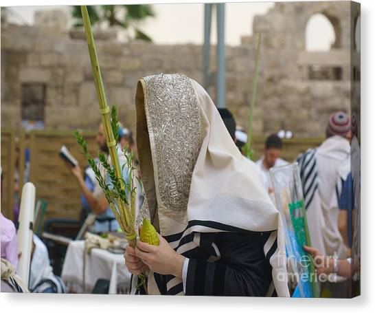 Jewish Sunrise Prayers At The Western Wall, Israel 7 Canvas Print