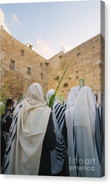Jewish Sunrise Prayers At The Western Wall, Israel 9 Canvas Print