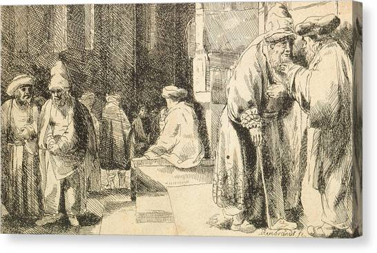 Jewish Artist Canvas Print - Jews In The Synagogue by Rembrandt