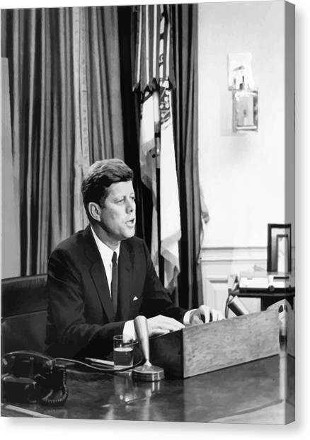 Democratic Canvas Print - Jfk Addresses The Nation Painting by War Is Hell Store