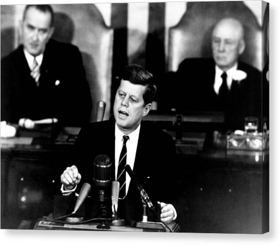President Canvas Print - Jfk Announces Moon Landing Mission by War Is Hell Store