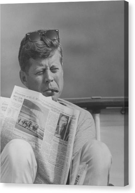Democratic Canvas Print - Jfk Relaxing Outside by War Is Hell Store