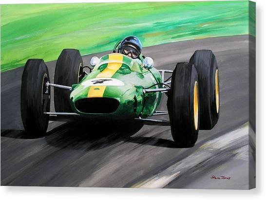 Jim Clark Lotus 25 Canvas Print by Steve Jones