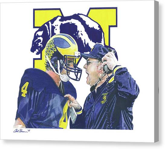 University Of Michigan Canvas Print - Jim Harbaugh And Bo Schembechler by Chris Brown