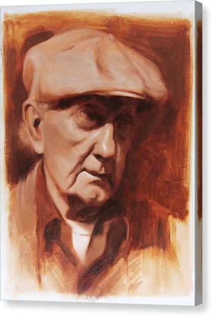 Old Man Canvas Print - Jim In Monochrome by Anna Rose Bain